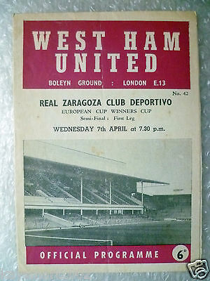 1964/65 WEST HAM UNITED v REAL ZARAGOZA CLUB, 7 Apr (ECWC Semi Final 1st Leg).