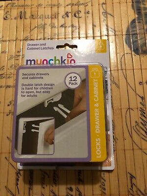 Munchkin 12 Pack Drawer And Cabinet Latches Locks Medicine Cabinets Brand New