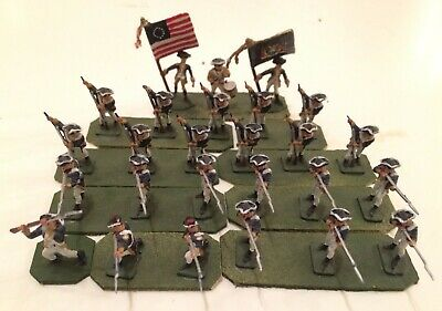 26ea 1:72 scale painted plastic American Revolution Infantry w/ Command Flags