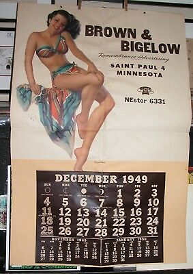 Old 1949 ZOE MOZERT Huge Pin-Up! Salesman Sample Calendar Art Signed Color Litho