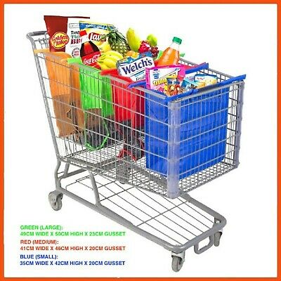 12 x FOLDABLE SHOPPING CART BAG 3 PK | Assorted Sizes Trolley Bags Grocery Bags