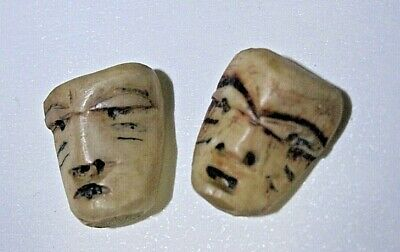 Inuit Mask Fossil -Antler detailed 2 small carvings from very early period