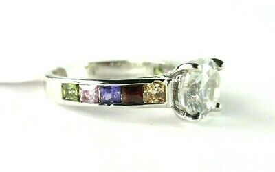 Topaz & Multi-Colored simulated gemstone ladies silver ring size 7.25 R*16973