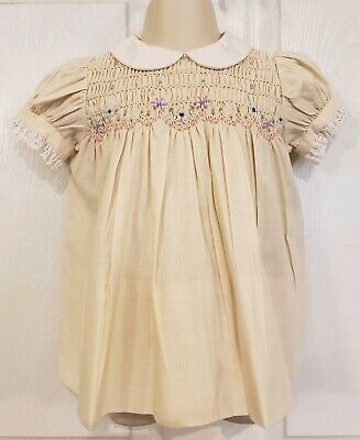*Vintage* Polly Flinders Hand Smocked Cream Floral Smocked Dress Sz 18m