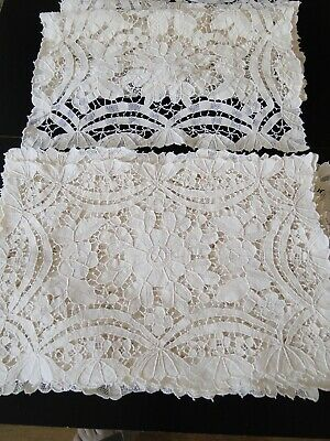 Antique Linens-  Twelve Needle Lace Placemats And Table Runner