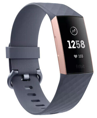 Fitbit - FB410RGGY - Charge 3 Health & Fitness Tracker - Blue Grey/Rose Gold