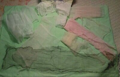 Antique Remnants White Pink Mesh Net Tulle For Collars Dolls Sewing Lace Making