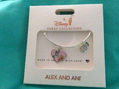 DISNEY PARKS ALEX AND ANI LADY AND TRAMP Heart Silver Bracelet NEW Free Shipping