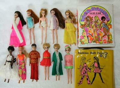 """11 Dolls 6 1/2"""" Topper Rock Flowers Dawn Garry Jessica & Others & 2 Cases"""