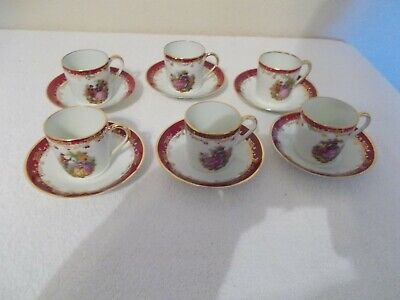 Antique LIMOGES Tea Cups and Saucers - SET of SIX
