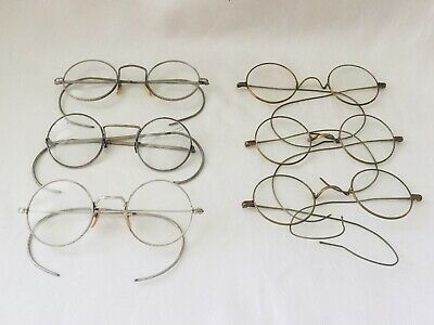 Antique Lot of 6 Silver Tone / Gold Tone Round SPECTACLES - AS-IS-AS-SHOWN