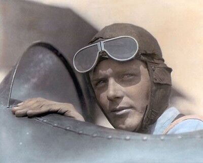 "CHARLES LINDBERGH 1923 AVIATION PIONEER 8x10"" HAND COLOR TINTED PHOTOGRAPH"