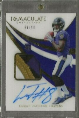 2018 Panini Immaculate Collection Lamar Jackson Rc Auto Patch 91/99 #116 Ravens
