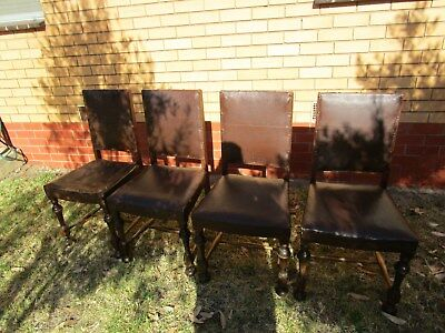 Vintage antique dining chairs 4 matching with brown upholstery