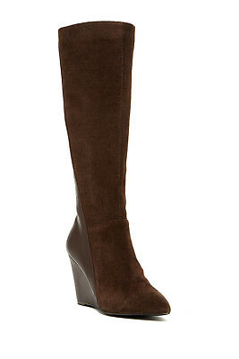 3df0109e379a Charles by Charles David Dark Brown Easton Wedge Boots Leather Tall Size 8  NEW