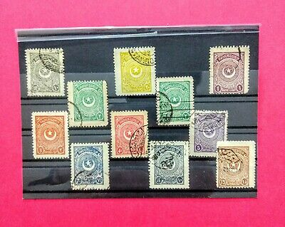 Turkish stamps 1924 second star & Cresent   10. 1/4 perforation complete set