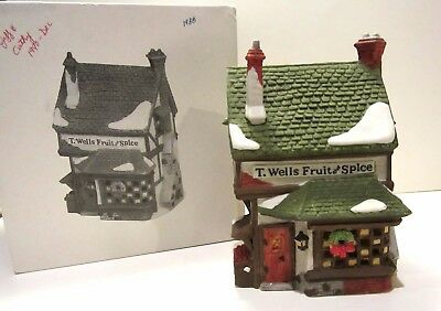 Department 56 Dickens' Village Series T Wells Fruit And Spice Shop 1988 5924-2