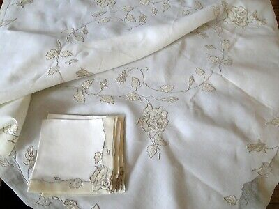 """Lovely Marghab  """"rose""""  Linen And Marghandie Tablecloth With Napkins"""