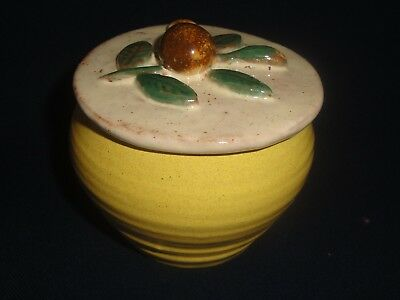 RowanTrees Pottery Blue Hill Maine Sugar Bowl with Lid Yellow Fruit