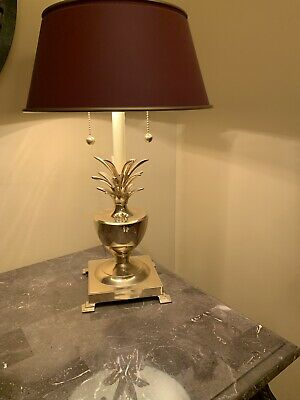 Vintage Bombay Brass Pineapple Table Lamp Dual Arms Tole Metal Shade Pull Chains