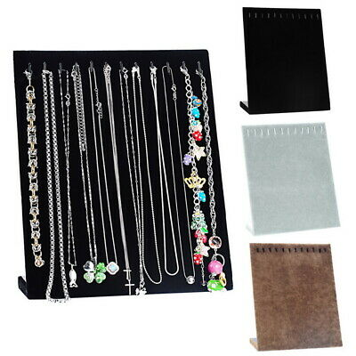 UK Black Velvet Chain Necklace Jewelry Display Holder Stand Easel Organizer Case