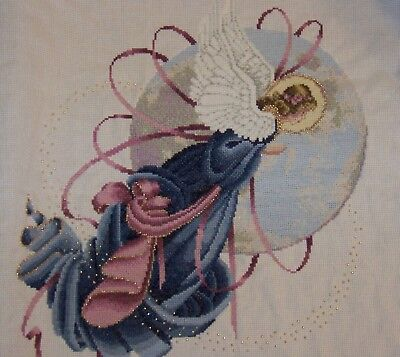 Beautiful Cross Stitch Angel Lavender & Lace Finished Completed Nice Gift