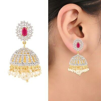 Indian Bollywood 22k Gold Plated Jhumka Earrings Jhumki Ethnic Jewelry for Women