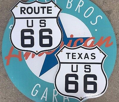 classic TEXAS ROUTE 66 - ROUTE US 66  porcelain coated 18 GAUGE steel signs