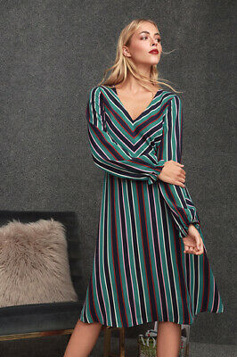 Classic Eileen Navy Blue Multi Striped Long Sleeve Midi Dress - XS - S