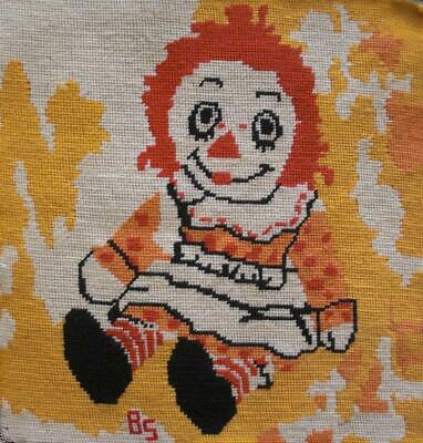"""Vintage Completed wool needlepoint tapestry Raggedy Ann doll 15""""x14.3"""""""