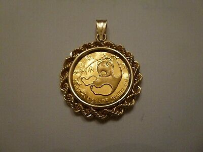 1985 1/10th Ounce Gold Chinese Panda Coin In 14k Gold Bezel