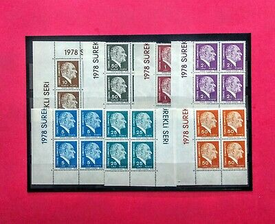 Turkish stamps 1978 (**) four of block the ATATÜRK complete set