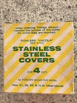 Vintage Fowlers Vacola Stainless Steel Lids In Original Packaging
