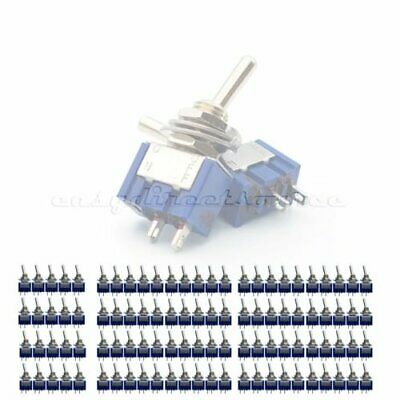 100 pcs 2 Pin SPST ON-OFF 2 Position 6A 250VAC Mini Toggle Switches MTS-101