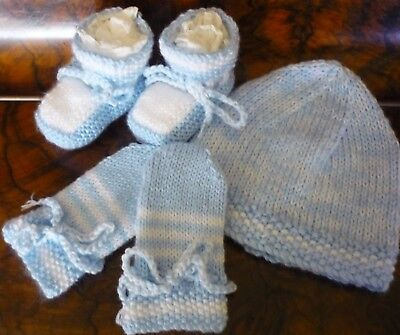 Baby Beanie, Booties & Mittens, Boy/girl, Extra Soft Blue/white, Hand-Knitted
