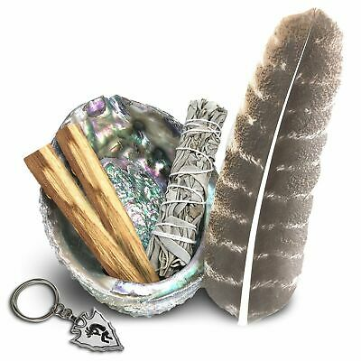 Smudge Kit: Large Abalone Shell + Stand + Palo Santo + White Sage + Feather!