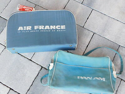 vintage AIRCRAFT LOT 2 SAC de VOYAGE pan am AIR FRANCE travel cabin BAG avion