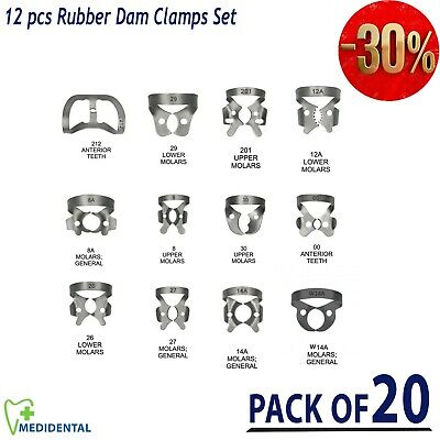 Dental Dentist Restorative Set Of 12 Rubber Dam Clamps New Colliers Pack Of 20