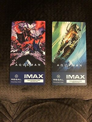 Aquaman Regal IMAX Collectible Ticket Set Of Two, Free Mini Movie Poster Code