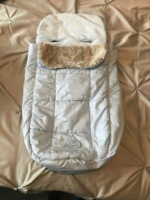 Mayoral Spanish Footmuff In Blue And Tan Boys  Fur Luxury Liner For Pushchair