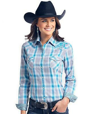 777ddb672 Rough Stock by Panhandle Women's Dempsey Vintage Ombre Plaid Western Shirt  Multi