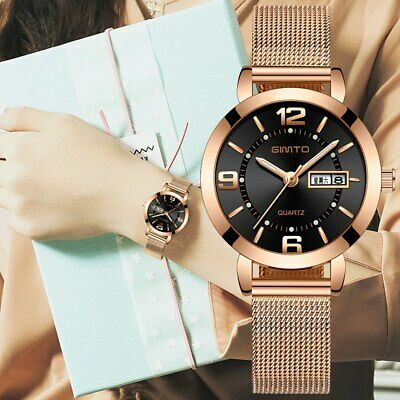 GIMTO Luxury Womens Fashion Stylish Stainless Steel Water Resistant Wrist Watch
