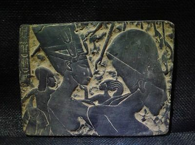 Egyptian Antiques Antiquities Akhenaten with Family Stela Relief 1353-1336 Bce