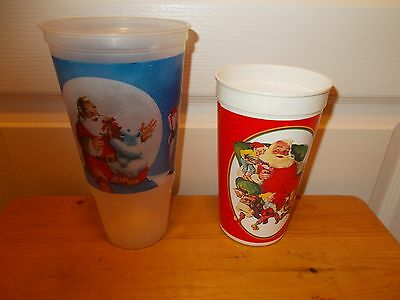 COCA-COLA Christmas Plastic Drinking Cups w/Santa Lot of 2
