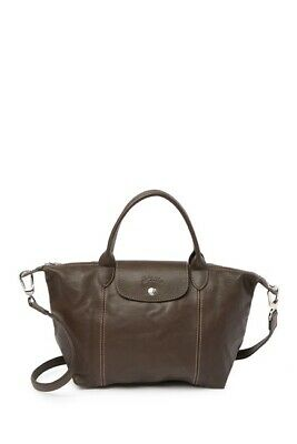 03e2071279a LONGCHAMP LE PLIAGE Small Leather Brown Handbag - Authentic ...