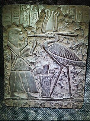 Egyptian Antiques Antiquities Bennu Bird Relief Stela Fragment 1571-1070 Bc