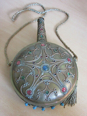 Antique Large Turkish Copper & Brass ornate canteen w/ rope handle & Tassel