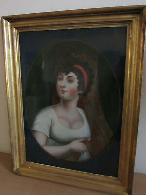Antique Early-Mid 1800's reverse painting on glass, Framed Young Lady portrait