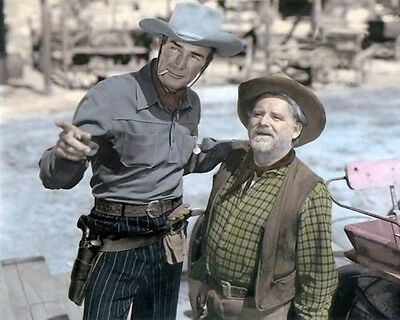 "Randolph Scott & Wallace Ford Coroner Creek 1948 8X10"" Hand Color Tinted Photo"