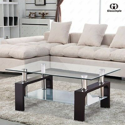 Modern Rectangle Glass Coffee Table with Shelf Walnut Leg Living Room Furniture